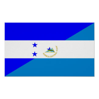 honduras nicaragua half flag country symbol poster