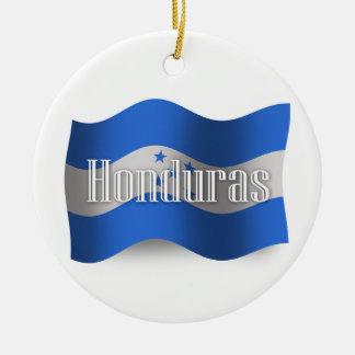 Honduras Waving Flag Round Ceramic Decoration