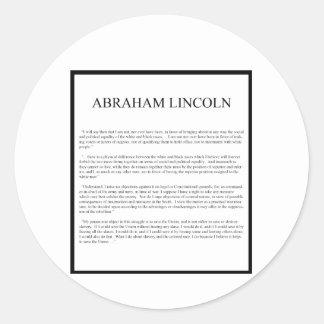 Honest Abe alternate layout Round Sticker