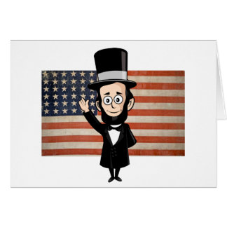 Honest Abe and American Stars and Bars Waving Greeting Card