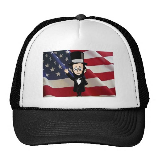Honest Abe and American Stars and Bars Waving Hats