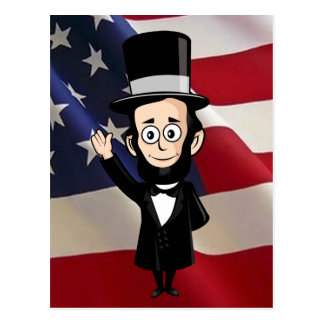 Honest Abe and American Stars and Bars Waving Postcard