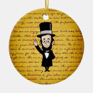 Honest Abe and His Gettysburg Address Round Ceramic Decoration