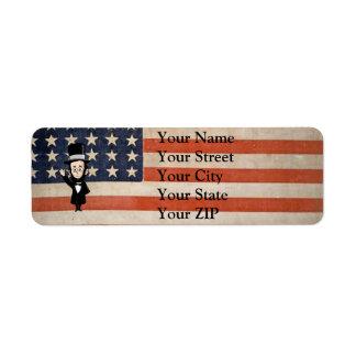 Honest Abe and Old Glory Return Address Label