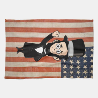 Honest Abe Lincoln and Old Glory American Pride Hand Towel