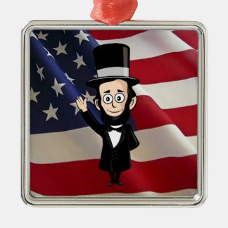 Honest Abe Lincoln and Old Glory Flying High Silver-Colored Square Decoration