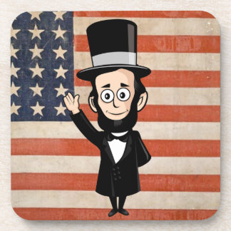 Honest Abe Lincoln and Old Glory Waving Proudly Drink Coaster