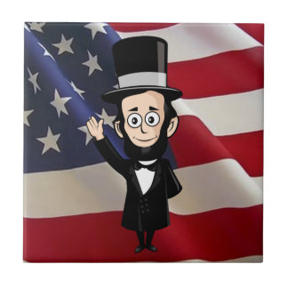 Honest Abe Lincoln and the American Flag Waving Ceramic Tiles