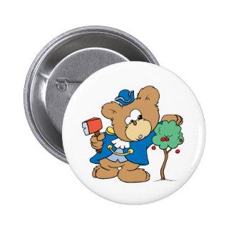 honest abe presidents day teddy bear design pinback button