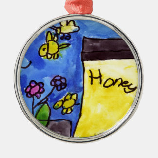 Honey and Bees Motif Silver-Colored Round Decoration
