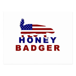 honey badger american flag postcards