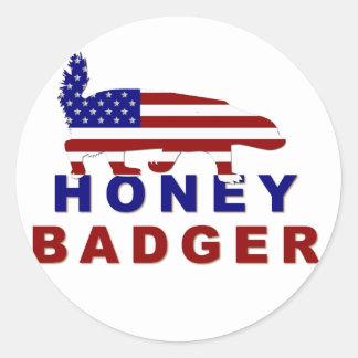 honey badger american flag round sticker