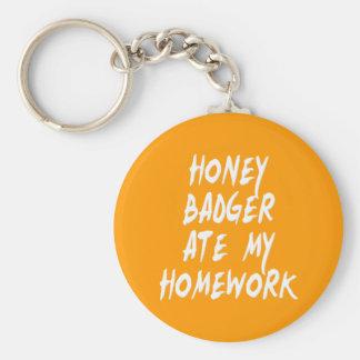 Honey Badger Ate My Homework Key Ring