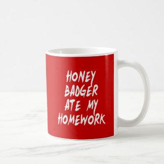 Honey Badger Ate My Homework Mugs