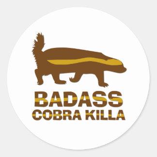 Honey Badger - Badass Cobra Killa Round Stickers