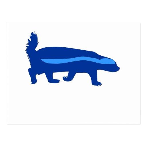 honey badger blue post cards