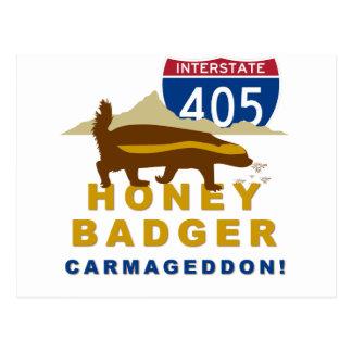 honey badger carmageddon postcard