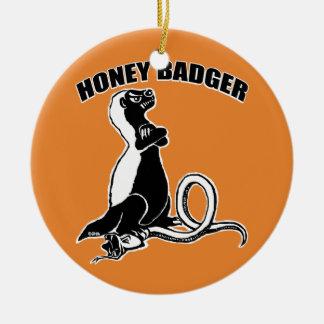 Honey badger ceramic ornament