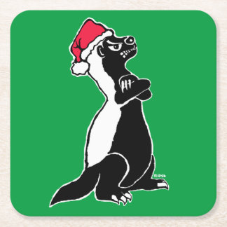 Honey badger Christmas Square Paper Coaster