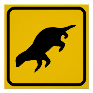 Honey Badger Crossing Sign Poster