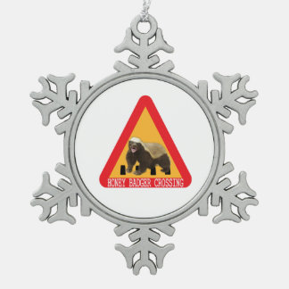 Honey Badger Crossing Sign - White Background Pewter Snowflake Decoration