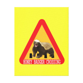 Honey Badger Crossing Sign - Yellow Background Canvas Print