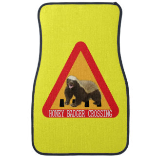 Honey Badger Crossing Sign - Yellow Background Car Mat