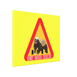 Honey Badger Crossing Sign - Yellow Background Gallery Wrapped Canvas