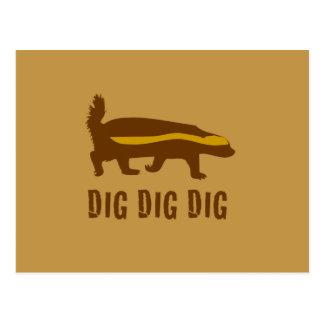 Honey Badger Dig Dig Dig Postcard