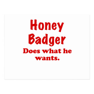 Honey Badger Does What He Wants Postcard