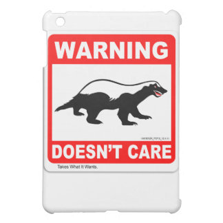 Honey Badger Doesn't Care WARNING Label iPad Case