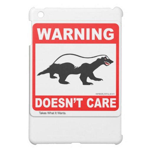 Honey Badger Doesn't Care WARNING Label iPad Case