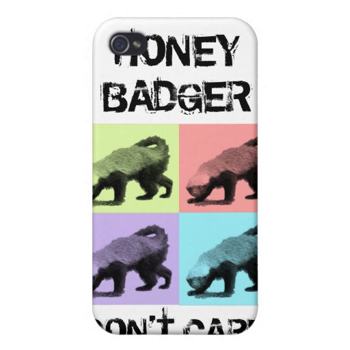 Honey Badger don't care colour case white Covers For iPhone 4