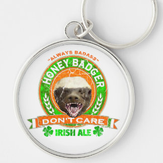 Honey Badger Don't Care Irish Ale Label Keychains