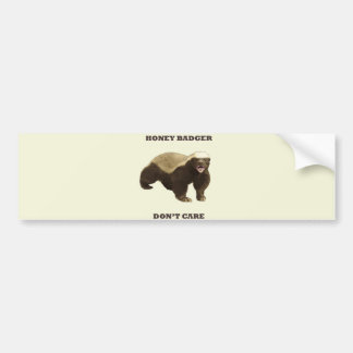 Honey Badger Don't Care On Beige Cream Background Bumper Stickers