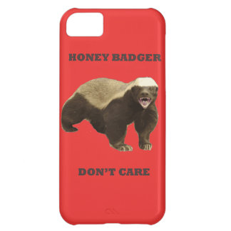Honey Badger Don't Care On Poppy Red Background iPhone 5C Cover