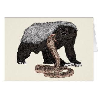 Honey Badger Faces Snake Fearless Animal Design Card