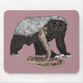 Honey Badger Faces Snake Fearless Animal Design Mouse Pad