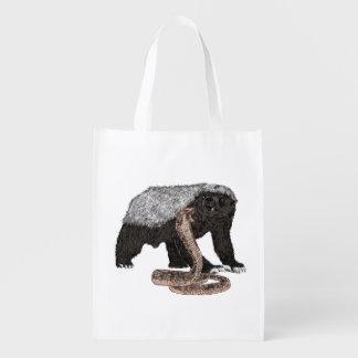 Honey Badger Faces Snake Fearless Animal Design Reusable Grocery Bag