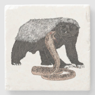 Honey Badger Faces Snake Fearless Animal Design Stone Coaster