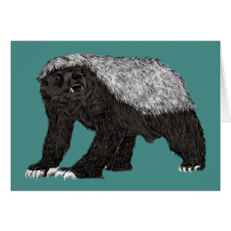 Honey Badger Fearless With Attitude Animal Design Card