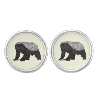 Honey Badger Fearless With Attitude Animal Design Cufflinks
