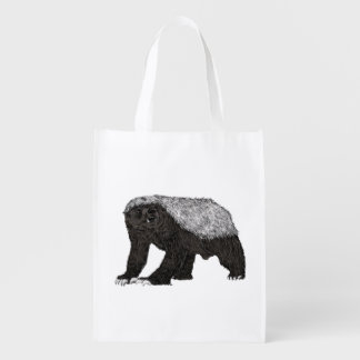 Honey Badger Fearless With Attitude Animal Design Reusable Grocery Bag