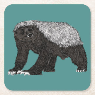 Honey Badger Fearless With Attitude Animal Design Square Paper Coaster