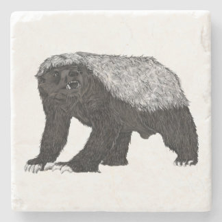Honey Badger Fearless With Attitude Animal Design Stone Coaster