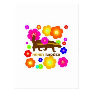 honey badger flowers postcard