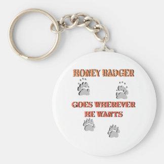 Honey Badger goes where he wants Key Ring