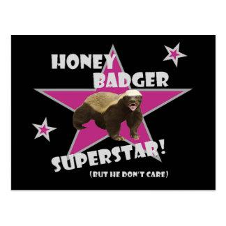 Honey Badger He Don't Care Superstar Postcard