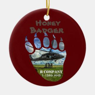 Honey Badger &  Helicopter Ceramic Ornament