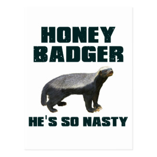 Honey Badger He's So Nasty Postcards